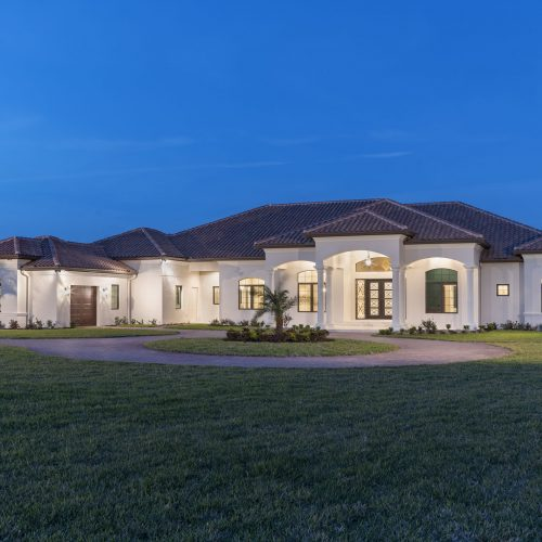 exterior of new traditional style custom home