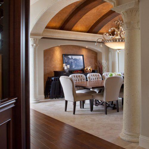 dining room in custom Mediterranean style home