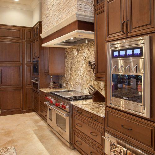new kitchen in custom Mediterranean style home
