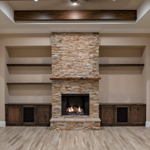 custom stone fireplace in Mid Atlantic Traditional style home